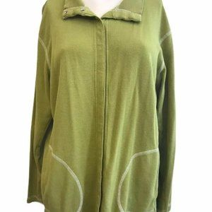 Chicos Design Size 2 Sweater Chartreuse Green Snap